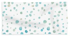 Mint Blue Watercolor Confetti Dots Bath Towel