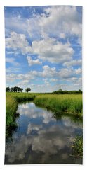 Mirror Image Of Clouds In Glacial Park Wetland Hand Towel