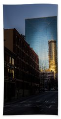 Mirror Reflection Of Peachtree Plaza Bath Towel