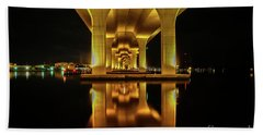 Mirrored Bridge Reflection Hand Towel by Tom Claud