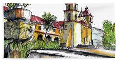 Bath Towel featuring the painting Mission Santa Barbara by Terry Banderas