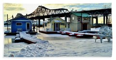 Mississippi River Boathouses Hand Towel