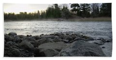 Hand Towel featuring the photograph Mississippi River Dawn Over The Rocks by Kent Lorentzen