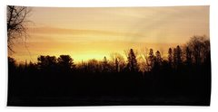 Hand Towel featuring the photograph Mississippi River Orange Sky by Kent Lorentzen