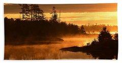Misty Dawn At Gabbro Lake Hand Towel