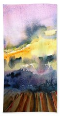 Bath Towel featuring the painting Misty Dawn Over Ploughed Field  by Trudi Doyle
