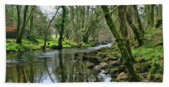 Misty Day On River Teign - P4a16017 Hand Towel