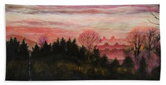 Hand Towel featuring the painting Misty Evening On Ernie Lane by Ron Richard Baviello