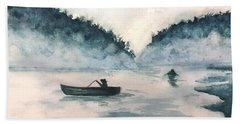 Hand Towel featuring the painting Misty Lake by Lucia Grilletto