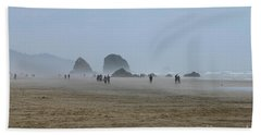 Misty Morning At Cannon Beach Hand Towel