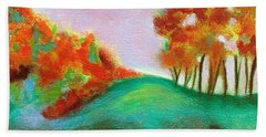 Hand Towel featuring the painting Misty Morning by Elizabeth Fontaine-Barr