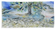Bath Towel featuring the painting Misty Morning by Evelina Popilian