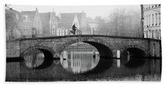 Misty Morning In Bruges  Bath Towel