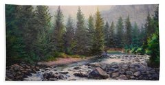 Misty Morning On East Rosebud River Hand Towel