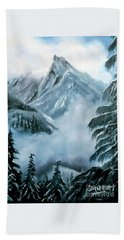 Misty Mountain Hand Towel by Derek Rutt