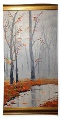 Misty Stream In Autumn Hand Towel