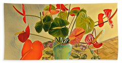 Mixed Aloha Anthuriums Matisse Bath Towel