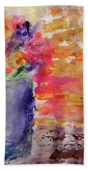Hand Towel featuring the mixed media Mixed Bouquet by Lisa McKinney