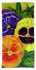 Mixed Pansies Bath Towel
