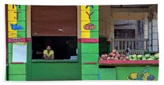 Bath Towel featuring the photograph Mjay Fruit Stand Havana Cuba by Charles Harden