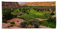 Moab Desert Canyon Golf Course At Sunrise Hand Towel