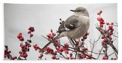 Mockingbird And Berries Hand Towel