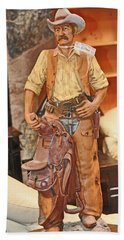 Hand Towel featuring the photograph Model Of Western Cowboy by Jay Milo