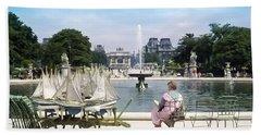 Model Sailboat Basin, Paris Bath Towel