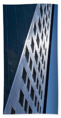 Blue Modern Apartment Building Bath Towel by John Williams