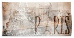 Modern Art Paris Collage Hand Towel