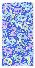 Modern Design With Random Colorful Numbers With Shadow Edges On A Blue Background  Bath Towel