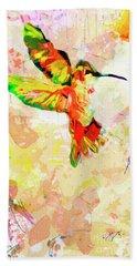 Modern Expressive Hummingbird  Bath Towel