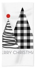 Modern Merry Christmas Trees - Art By Linda Woods Bath Towel