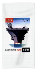 Modern Mobile Mighty Navy Hand Towel