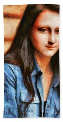 Modern Mona Lisa  - Camille Style -  - Da Hand Towel