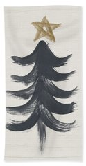 Modern Primitive Black And Gold Tree 1- Art By Linda Woods Bath Towel