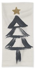Modern Primitive Black And Gold Tree 2- Art By Linda Woods Bath Towel