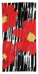 Hand Towel featuring the mixed media Modern Red Flowers- Art By Linda Woods by Linda Woods