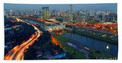 Modern Sao Paulo Skyline - Cidade Jardim And Marginal Pinheiros Bath Towel