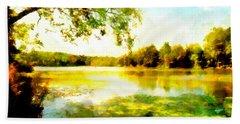 Hand Towel featuring the painting Mohegan Lake Hidden Oasis by Derek Gedney