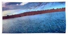 Hand Towel featuring the painting Mohegan Lake Panoramic Lake by Derek Gedney