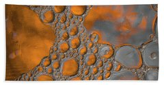 Molten Copper Puddles Abstract Bath Towel