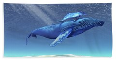 Mom And Baby Humpback Whales Swim Bath Towel