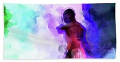Moment In Blue - African Dancer Bath Towel by Cedric Hampton