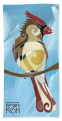 Moms Day Off Female Cardinal Painting Bath Towel