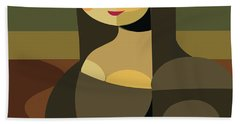 Mona Lisa Geometric Style  Hand Towel
