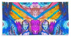 Mona Lisas Screams - Blue Abstract Art Hand Towel