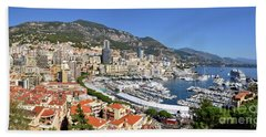 Bath Towel featuring the photograph Monaco Port Hercule Panorama by Yhun Suarez