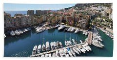Bath Towel featuring the photograph Monaco Port De Fontvieille  by Yhun Suarez