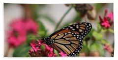 Monarch Butterfly On Fuchsia Hand Towel